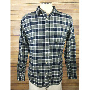 Old Navy Slim Fit Blue Flannel Plaid Button Shirt